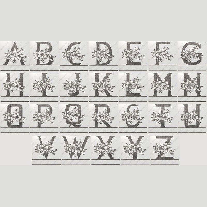 Split Monogram Floral All Letters Alphabet Split Letter Monogram Initials Dxf File Cut Ready For Cnc Laser Plasma Dxfstore Com Free Downloadable Dxf Files Ready To Cut