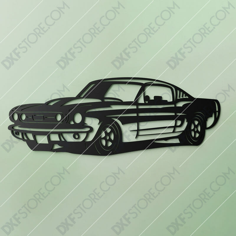 1967 Mustang GT Fastback Muscle Car Cut-Ready DXF File SVG File for CNC Laser Cut