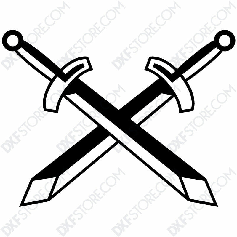 Free DXF File of 2 Swords-3
