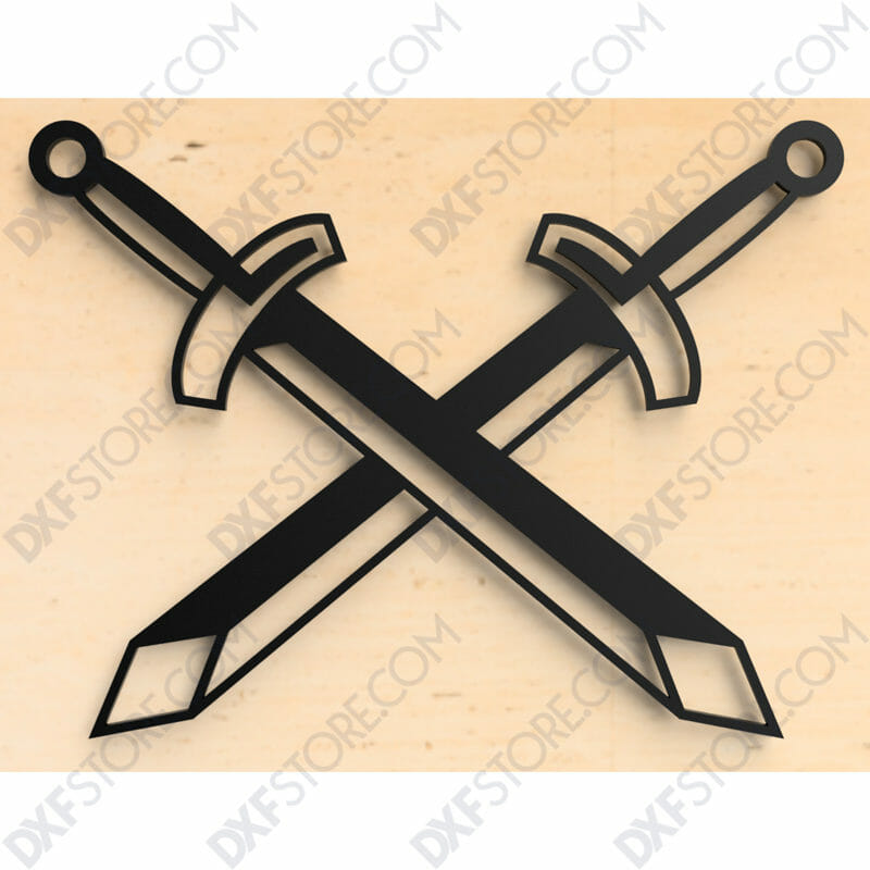 Free DXF File of 2 Swords