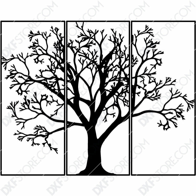 3 Pieces Tree Of Life Plasma Art for CNC Plasma Cut Cut-Ready DXF File for CNC