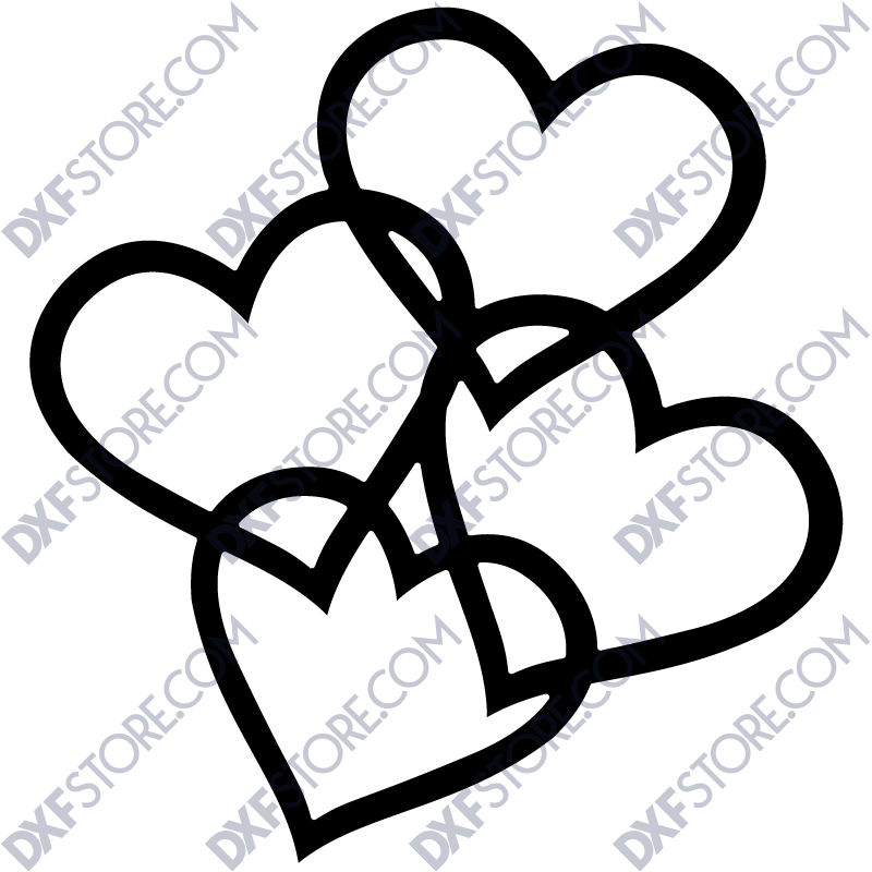 4 Ornamental Hearts