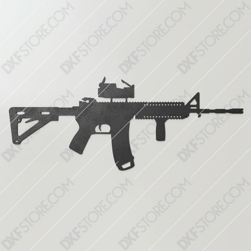 AR-15 Rifle Free DXF File Downloadable for CNC Plasma Cut and Laser Cut