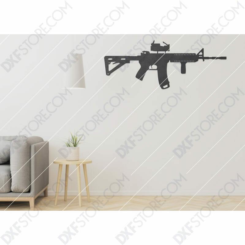 AR-15 Rifle Free DXF File Plasma Art for CNC Plasma Cut Cut-Ready DXF File for CNC