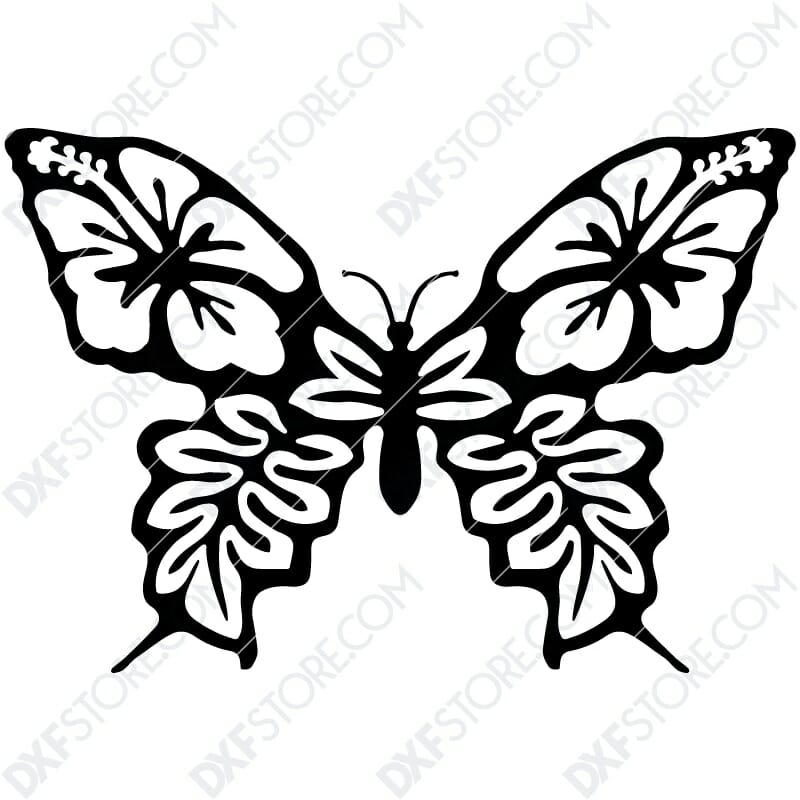 Butterfly Template Flower Ornament Plasma Cut DXF File Cut-Ready