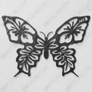 Butterfly Template Flower Ornament Plasma and Laser Cut DXF File for CNC