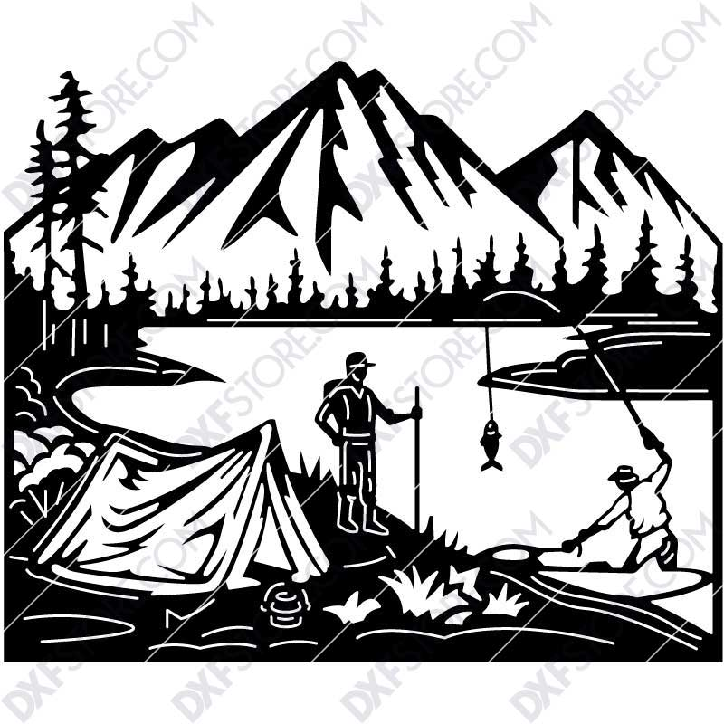 Camp Camper and Fisherman Lake Scenery Custom Order DXF File Plasma and Laser Cut for CNC Laser and Plasma Cut