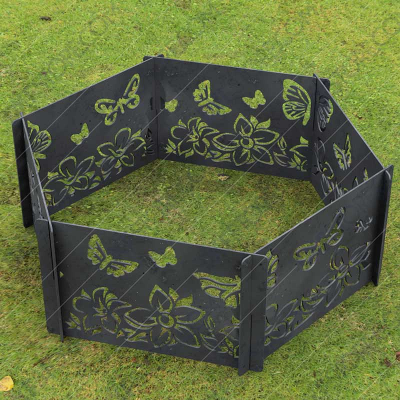 Fire Pit Ring Hexagon Collapsible Ornamental Floral and Butterflies Natural Scenery No Welding Needed DXF File for For CNC Plasma Cutter