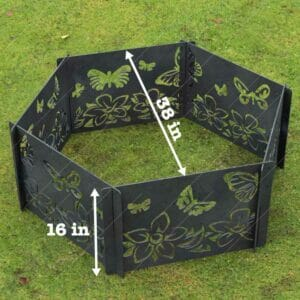 Fire Pit Ring Hexagon Collapsible Ornamental Floral and Butterflies Natural Scenery No Welding Needed DXF File for For Laser Cutter
