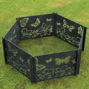 Fire Pit Ring Hexagon Collapsible Ornamental Floral and Butterflies Natural Scenery No Welding Needed DXF File for For Laser Cutting
