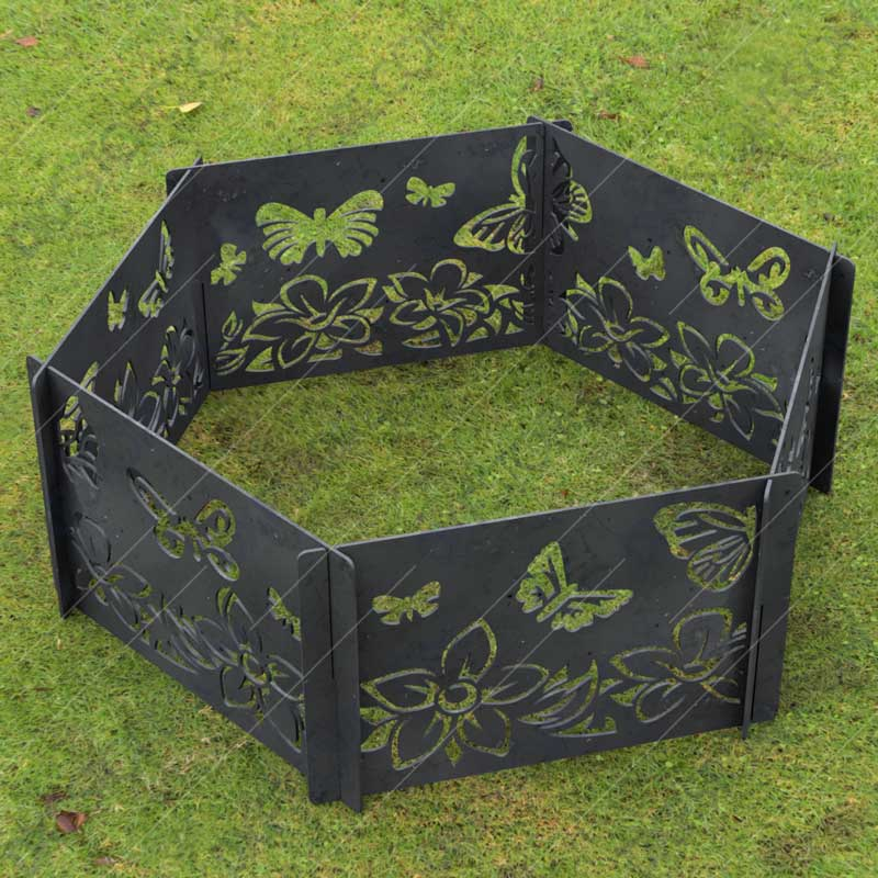 Fire Pit Ring Hexagon Collapsible Ornamental Floral and Butterflies Natural Scenery No Welding Needed DXF File for Plasma Cutting