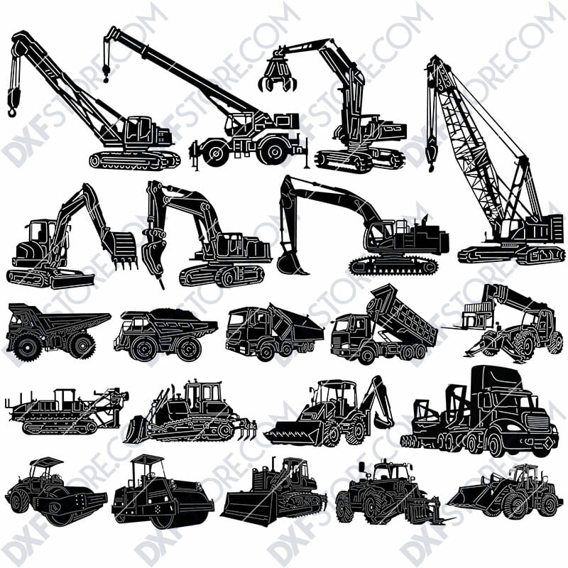 Construction Building Equipments Package DXF SVG Plasma Laser Downloadable Files For Sale
