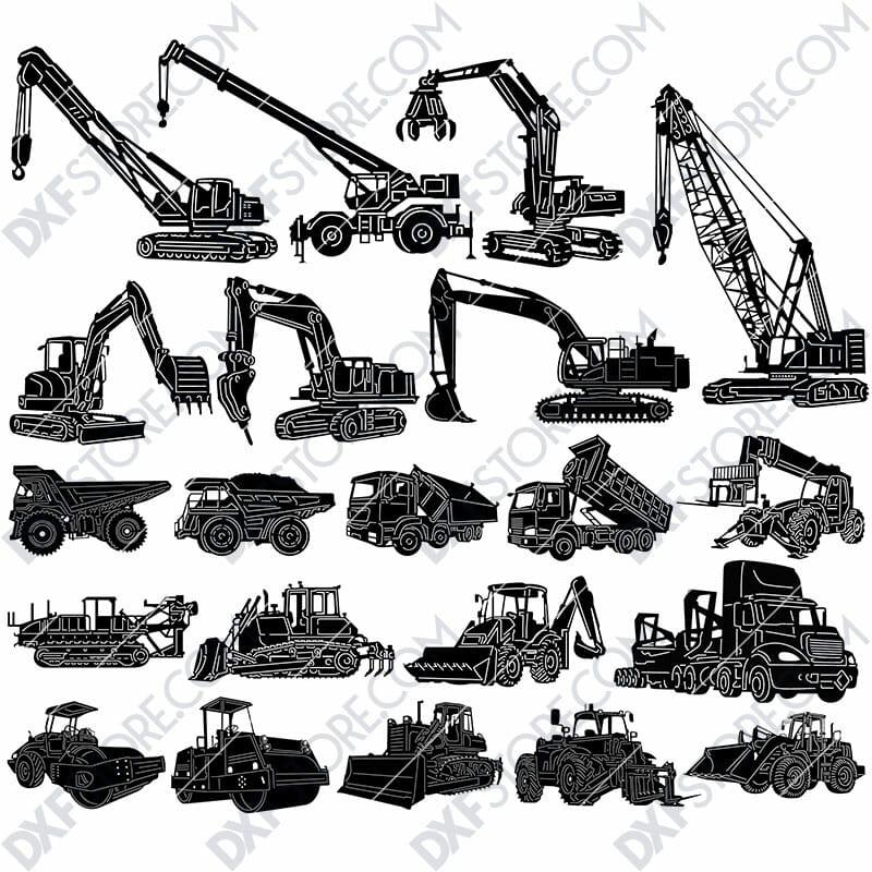 Construction Building Equipments Package DXF SVG Plasma Laser Downloadable Files For Sale