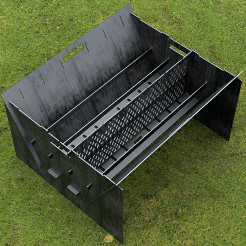 Custom Order - Fire Pit Collapsible Plancha Grill and Grill Indirect Cooking Ribs Plasma and Laser Cut