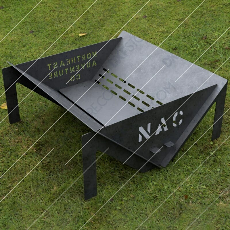 Custom Order - Fire Pit With Decorative Logo and Text on Sides CNC Cut-Ready DXF File