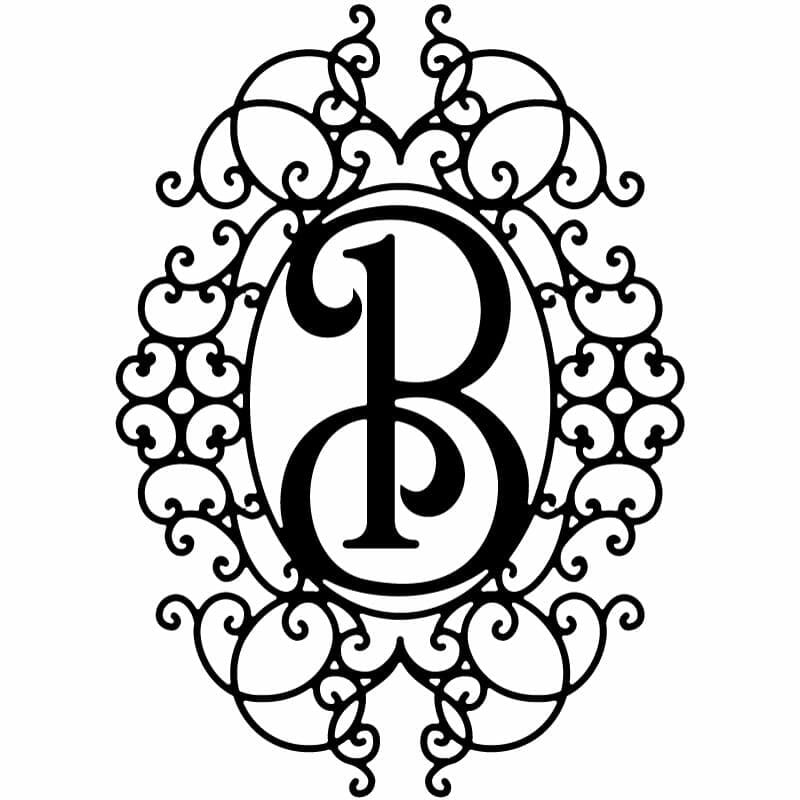 Decorative Frame With Ornamental Letter-B