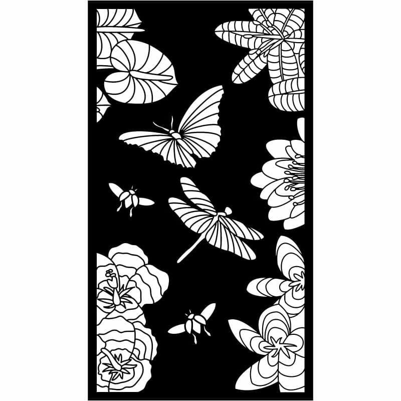 Decorative Privacy Screen Abstract and Floral-8