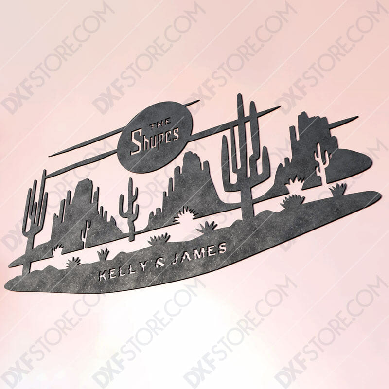 Desert Night Scene Custom Order Cut-Ready Plasma Cut DXF File Download for CNC Plasma and Laser Cut