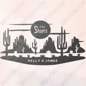 Desert Night Scene Custom Order DXF File Plasma and Laser Cut for CNC Laser and Plasma Cut