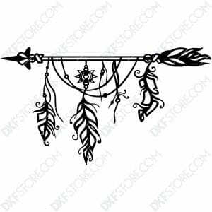 Dream Catcher Arrow and Feathers Boho Sign Plasma Art Metal Sign Plasma and Laser Cut DXF File
