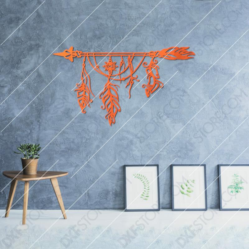 Dream Catcher Arrow and Feathers Boho Sign Plasma Art for CNC Plasma Cut Cut-Ready DXF File for CNC