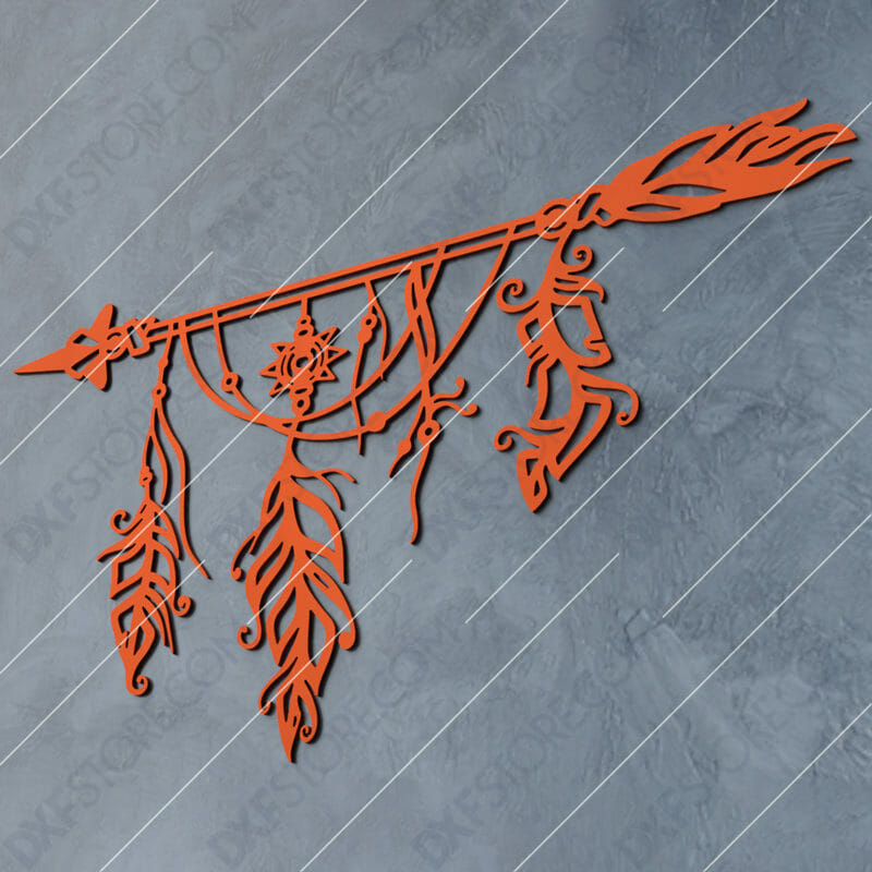 Dream Catcher Arrow and Feathers Boho Sign Plasma and Laser Cut DXF File for CNC Laser and Plasma