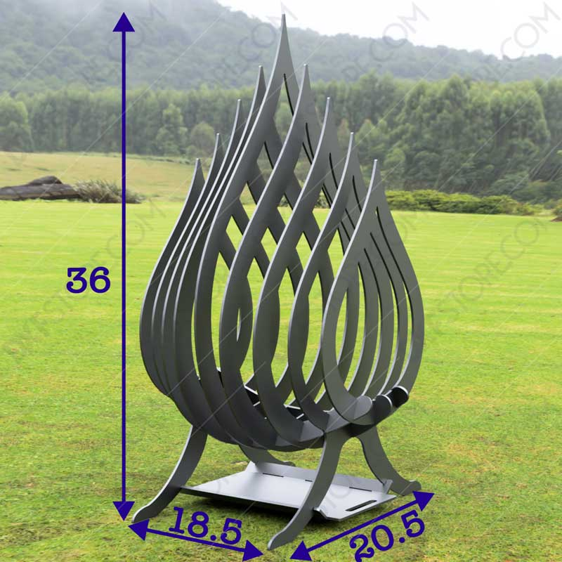 Fire Flame Fire Pit With Ash Tray Collapsible Portable Fire Pit No Welding Needed 20.5X18.5X36 For Waterjet CNC Cutting