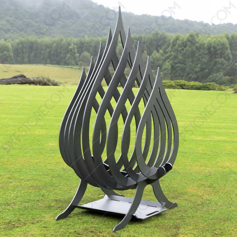 Fire Flame Fire Pit With Ash Tray Collapsible Portable Fire Pit No Welding Needed 20.5X18.5X36 for Plasma Cutting