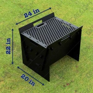 Fire Pit Collapsible Fire Pit BBQ Portable Outdoor Backyard and Camp Cooker 24Lx22Wx20H DXF for CNC Plasma Cutter