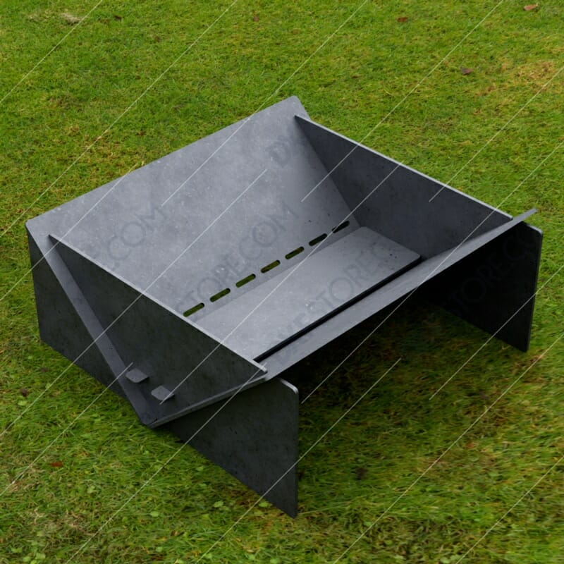 Fire Pit Collapsible Modern Minimalist Fire Pit 20*20*8 in Plasma and Laser Cut DXF File for CNC
