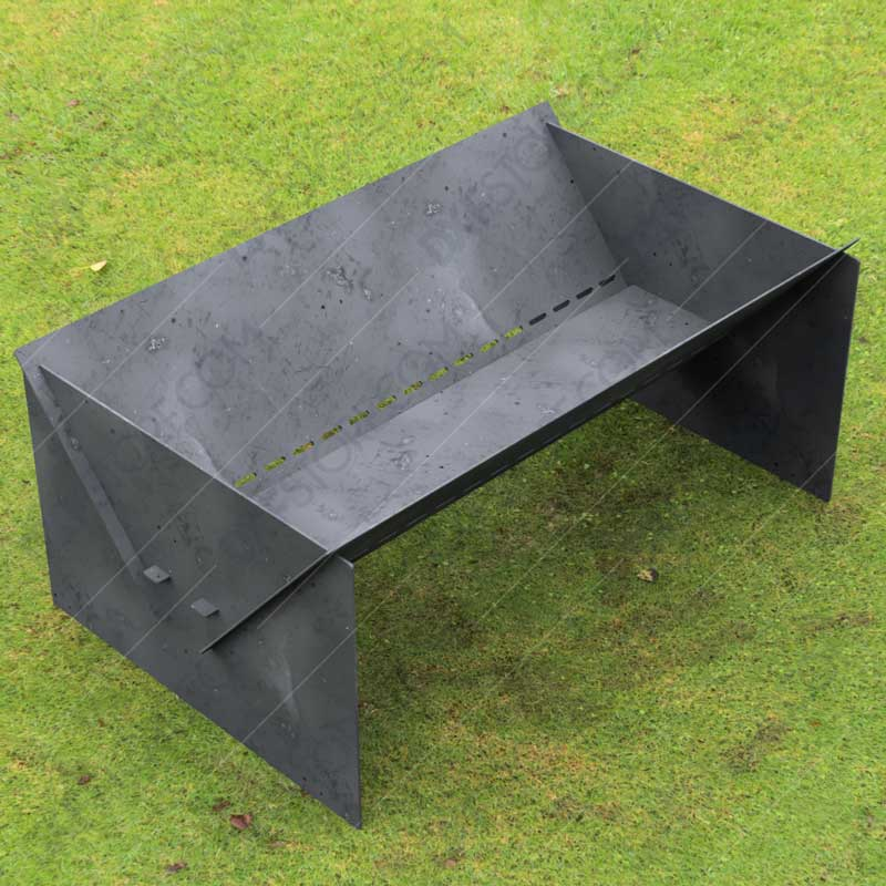 """Fire Pit Custom Design Modern Minimal Collapsible Fire Pit 48""""X30X20 With Base 10 Off The Ground For Laser Cutter"""