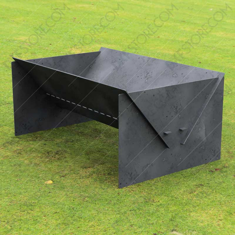 """Fire Pit Custom Design Modern Minimal Collapsible Fire Pit 48""""X30X20 With Base 10 Off The Ground For Laser Cutting"""