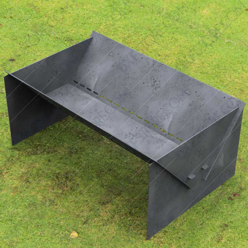 """Fire Pit Custom Design Modern Minimal Collapsible Fire Pit 48""""X30X20 With Base 10 Off The Ground For Waterjet CNC Cutting"""