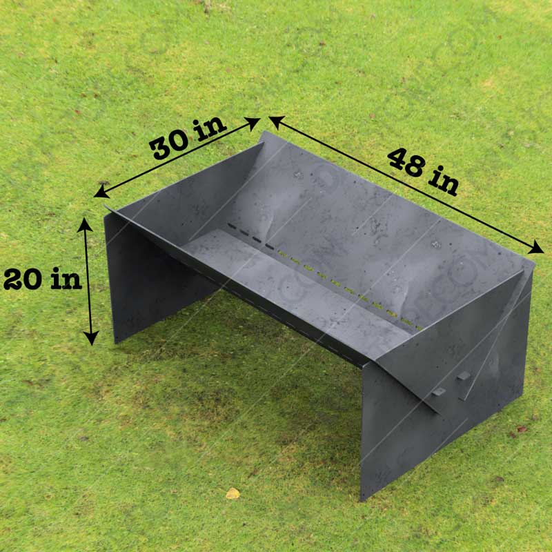 """Fire Pit Custom Design Modern Minimal Collapsible Fire Pit 48""""X30X20 With Base 10 Off The Ground for Plasma Cutting"""