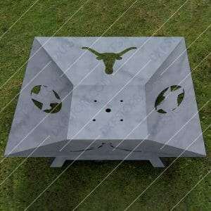 Fire Pit Square Texas Longhorns Cut-Ready Plasma Cut DXF File Download for CNC Laser Cut