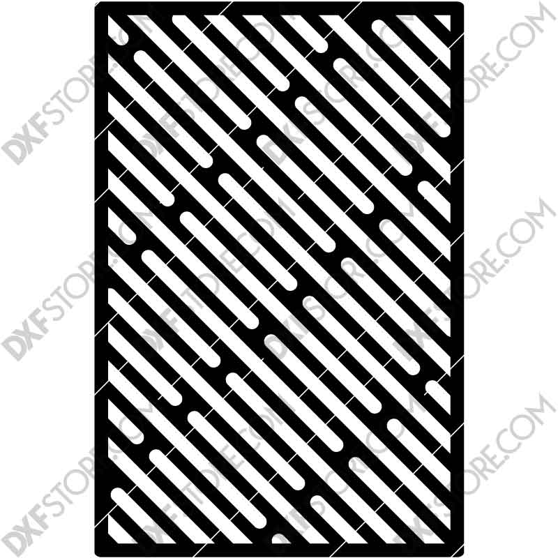 Fire pit BBQ Grill Cooking Grate Slanted Slots 18X12 in DXF file for Plasma Cutting