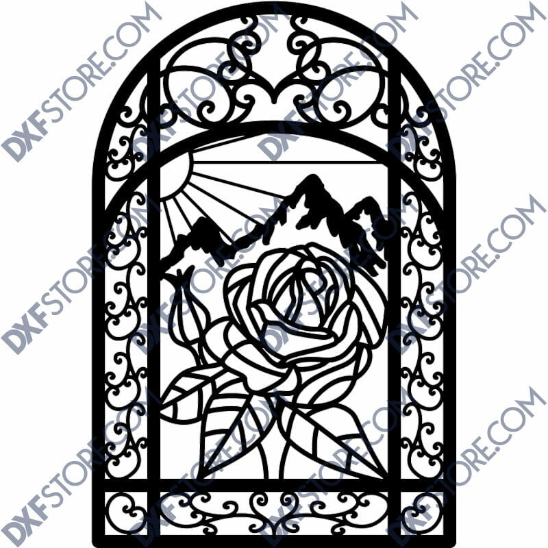 "Flower Ornamental Metal Art Gate 40""x5'"