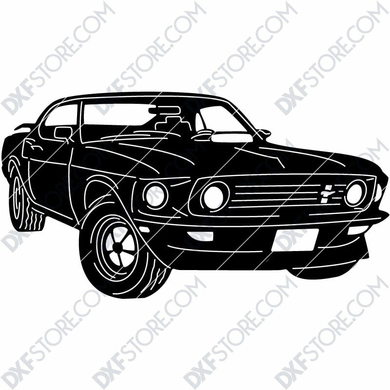 Ford Mustang 1969 Boss 429 John Wick's Car SVG File for CNC Plasma Cut