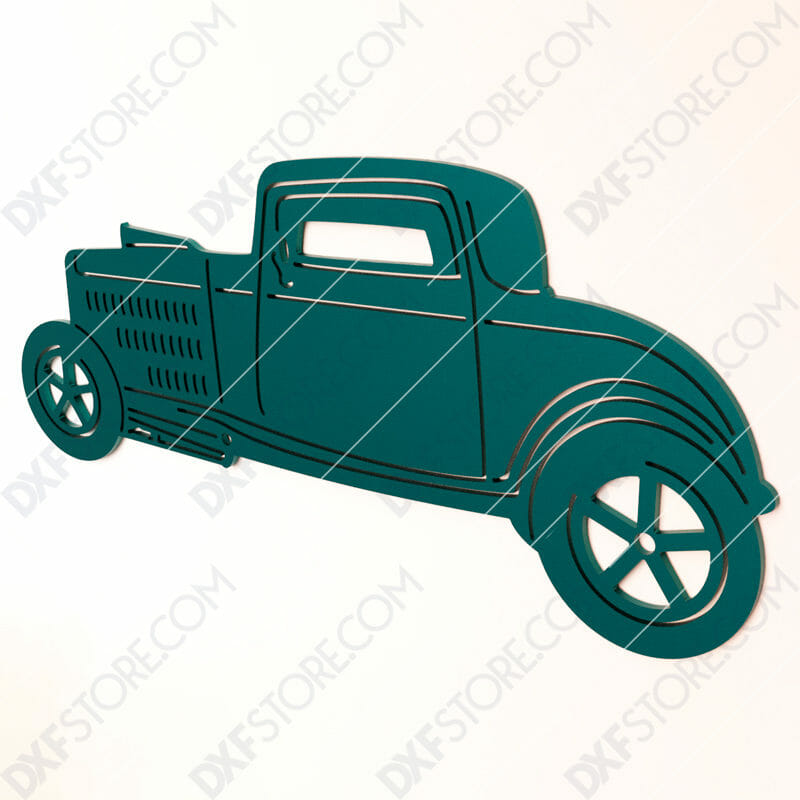 Free DXF File Hot Rod Classic Car Cut-Ready DXF File SVG File for CNC Laser Cut