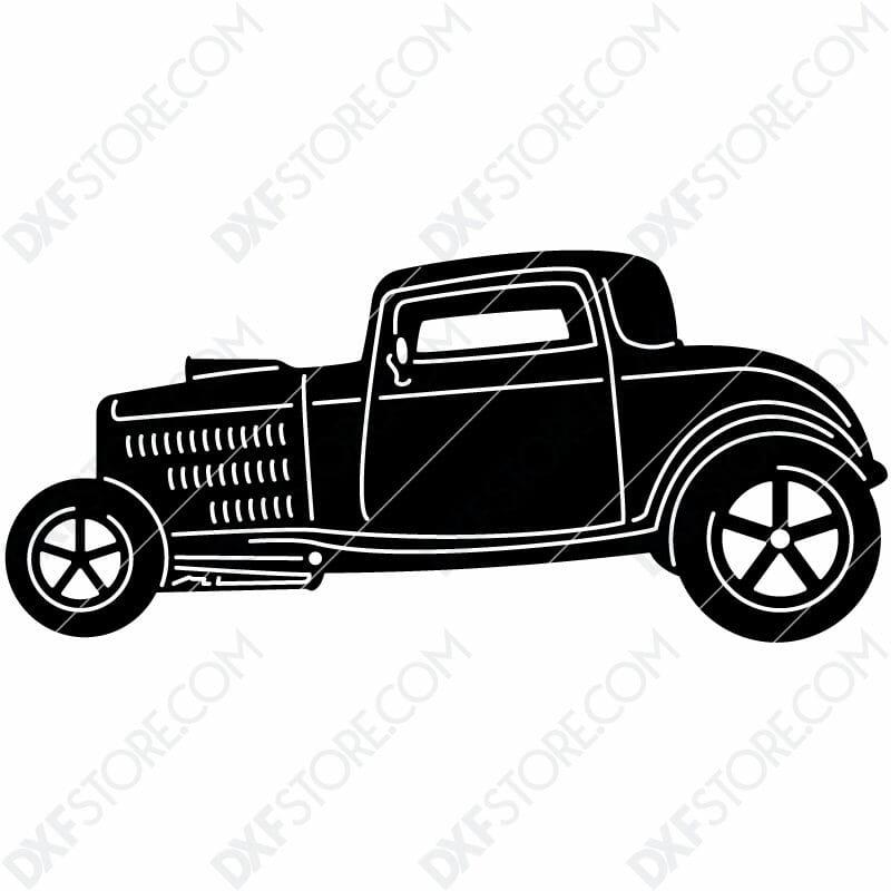Free DXF File Hot Rod Classic Car Cut-Ready DXF File for CNC Plasma Cut
