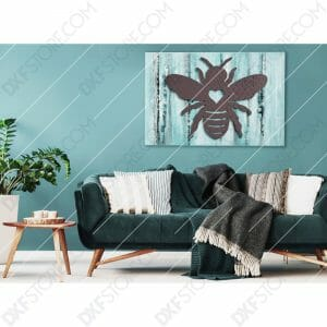 Garden Bumble Bee with Ornamental Heart Metal Sign Yard Decor DXF File Cut-Ready for CNC Plasma Cut