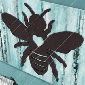 Garden Bumble Bee with Ornamental Heart Metal Sign Yard Decor DXF File SVG File Cut-Ready for CNC Laser Cut