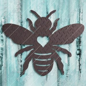 Garden Bumble Bee with Ornamental Heart Metal Sign Yard Decor DXF File SVG File Cut Ready for CNC Plasma and Laser Cut