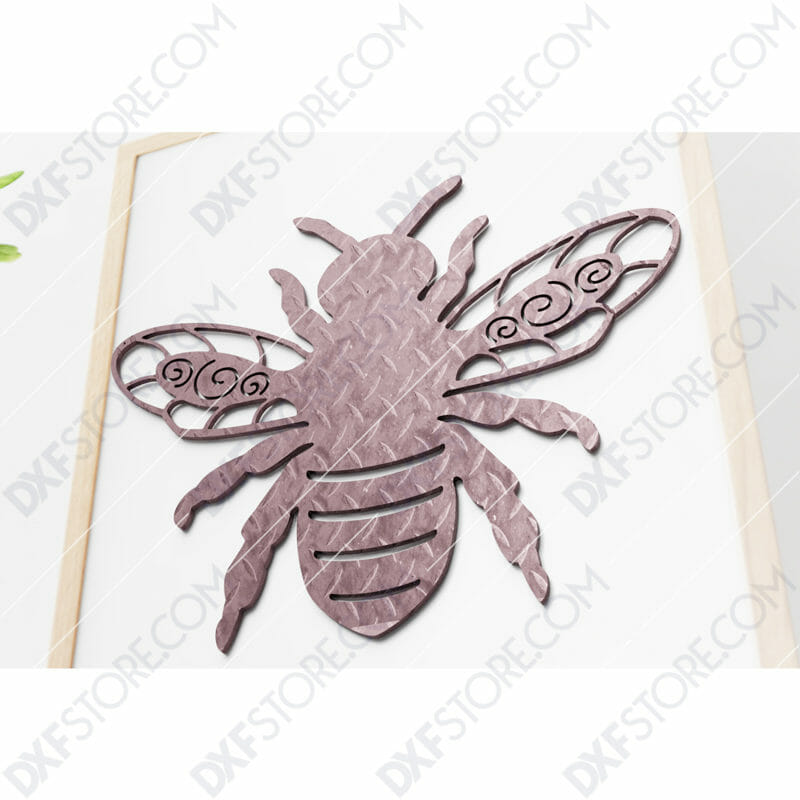 Garden Bumble Bee with Ornamental Wings Metal Sign DXF File Cut-Ready for CNC Plasma Cut