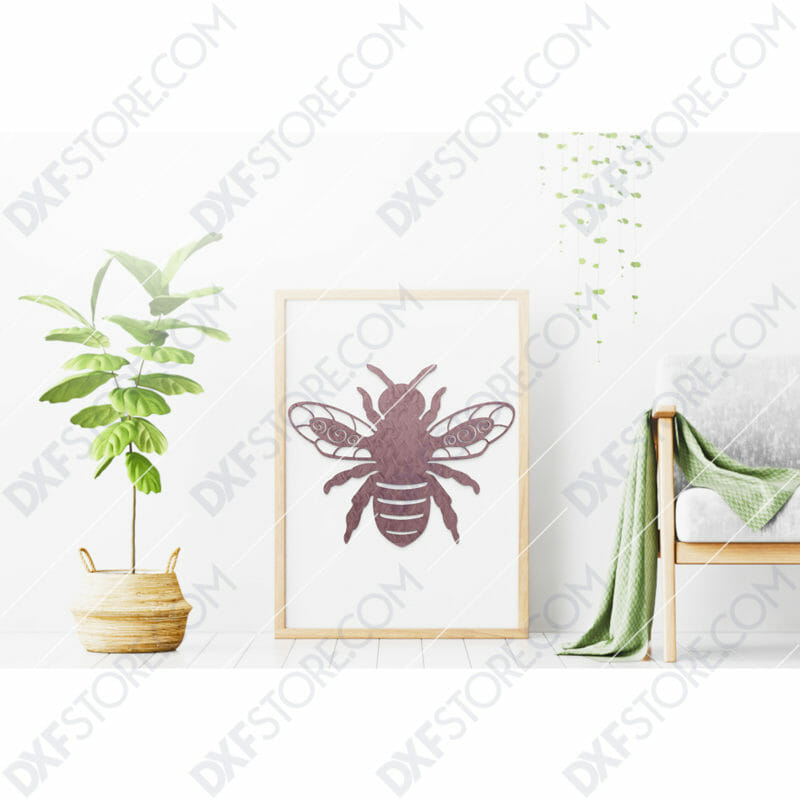 Garden Bumble Bee with Ornamental Wings Metal Sign DXF File SVG File Cut-Ready for CNC Laser Cut
