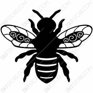 Garden Bumble Bee with Ornamental Wings Metal Sign DXF File SVG File Cut-Ready for CNC Plasma Cut