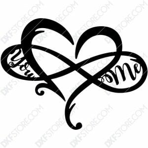 Heart Infinity You & Me Plasma Art CNC Cut-Ready DXF File