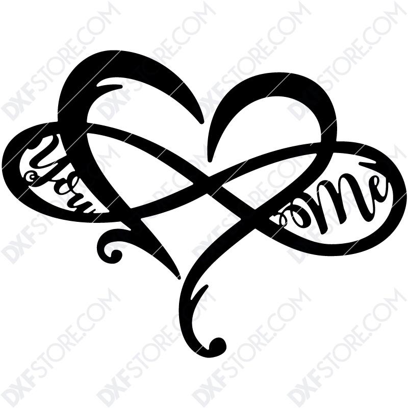 Heart Infinity You & Me Plasma Art CNC Cut-Ready DXF File