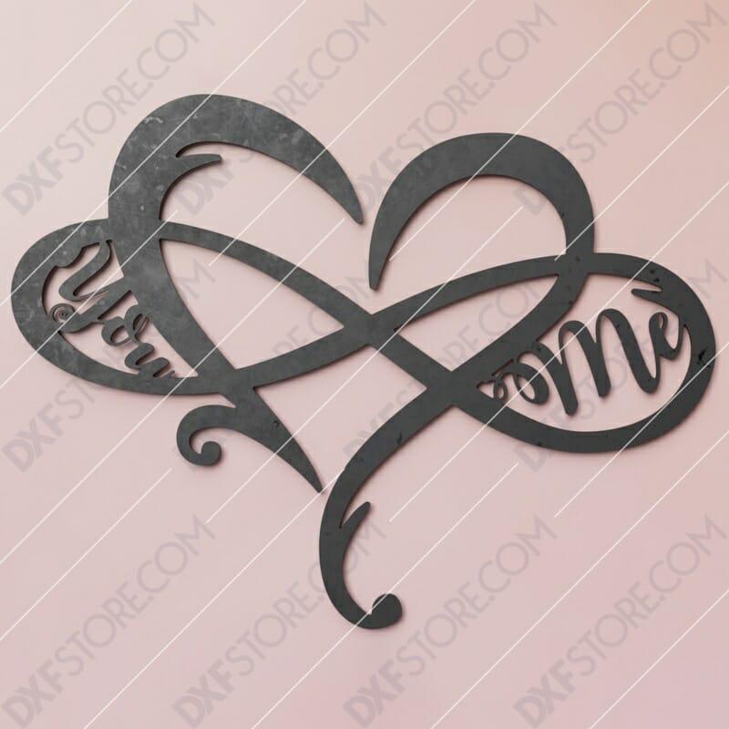 Heart Infinity You & Me Plasma Art CNC Plasma Cut CNC File