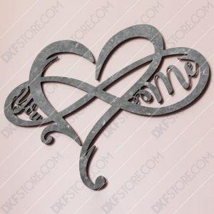 Heart Infinity You & Me Plasma Art Plasma Art Plasma and Laser Cut DXF File for CNC